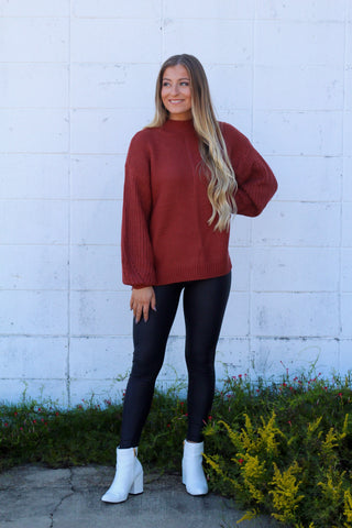 Just Friends Balloon Sleeve Sweater- Rust