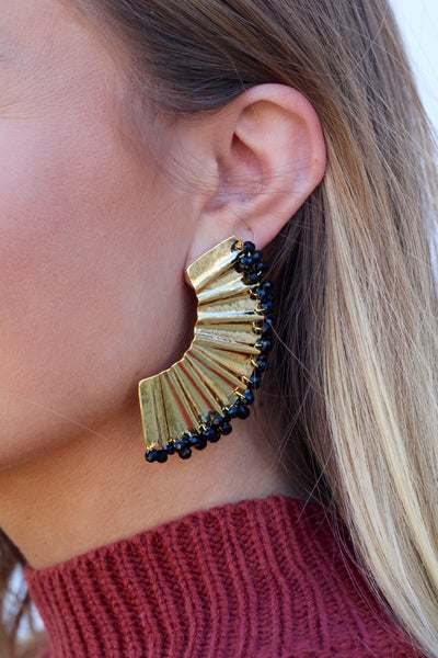 Holiday Ready- Black & Gold Earrings
