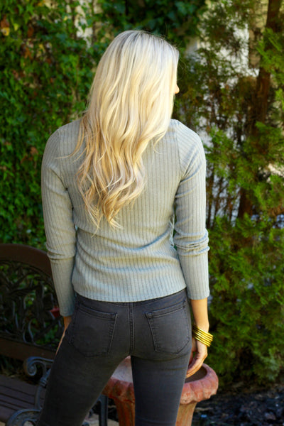 Olive Ribbed Wrap Top