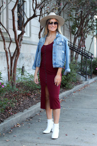 Should've Known Better Ribbed Knit Midi Dress- Wine