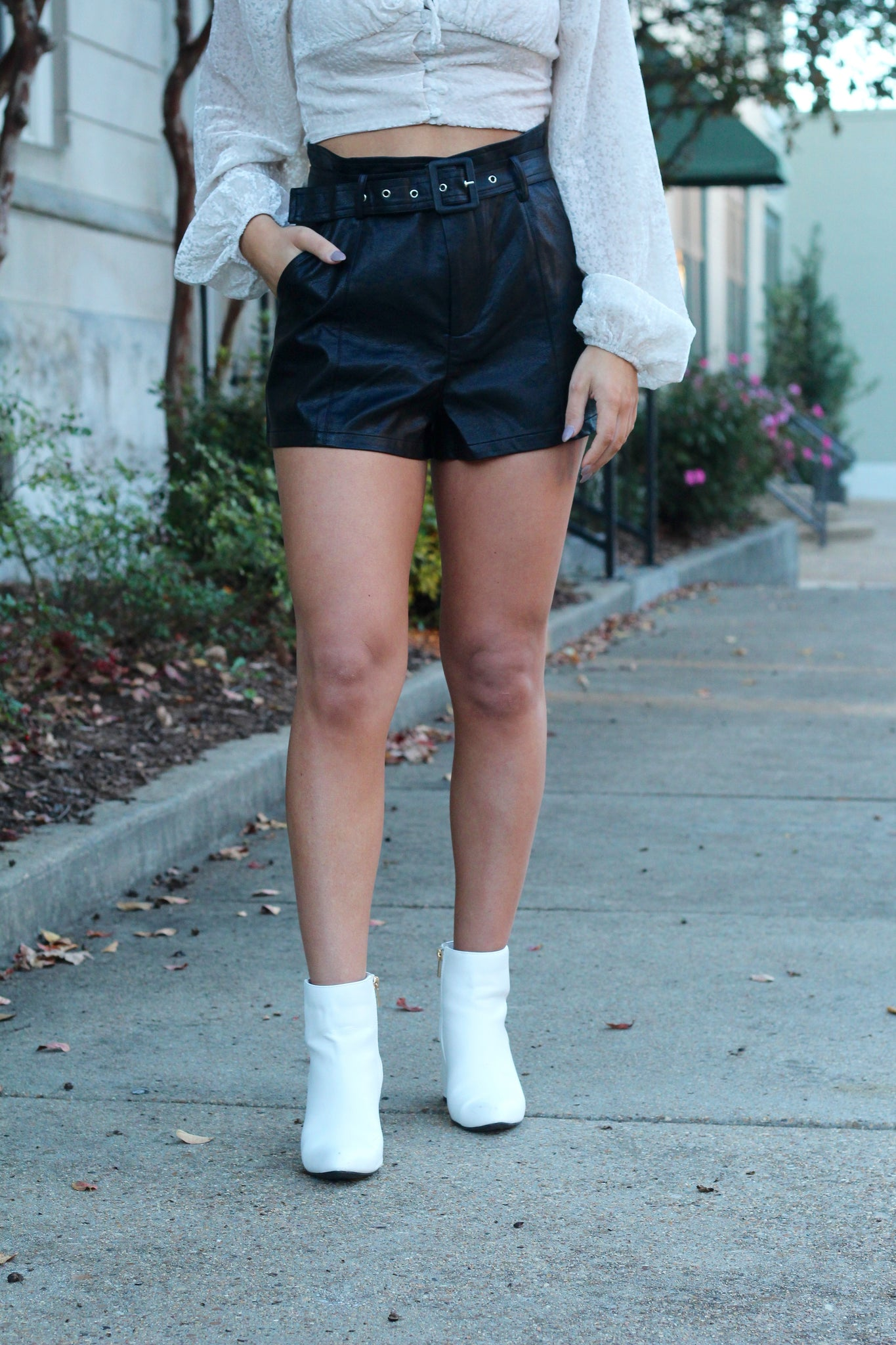 Let's Go Girls Belted Faux Leather Shorts