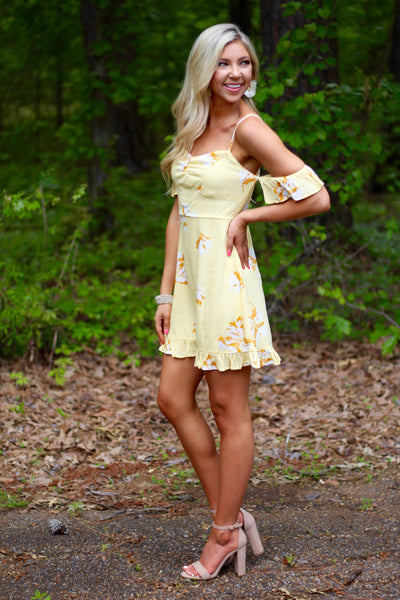 Yellow Off-The-Shoulder Floral Dress