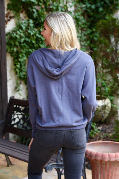 Midnight Blue V-Neck Hoodie