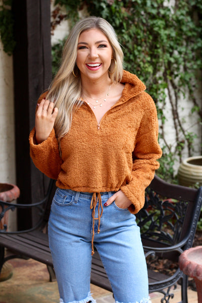 Rust Cropped Fleece Pullover