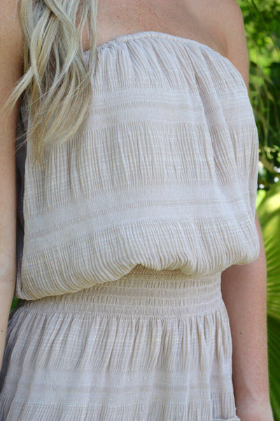 Sandy Beach Strapless Dress- Taupe