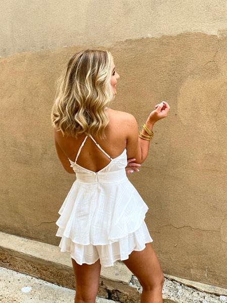 Steal the Spotlight White Ruffle Romper