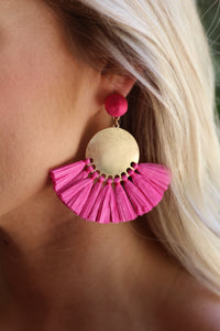 Fuchsia Raffia Tassel & Circle Earrings