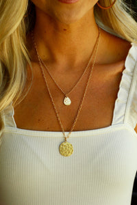 Gold Textured Long Layered Necklace