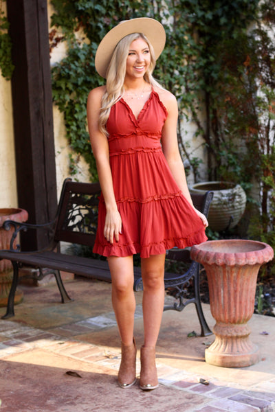 Rust Strappy Plunging Back Ruffle Dress