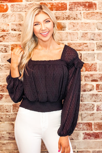 Black Cropped Swiss Dot Square Neck Blouse