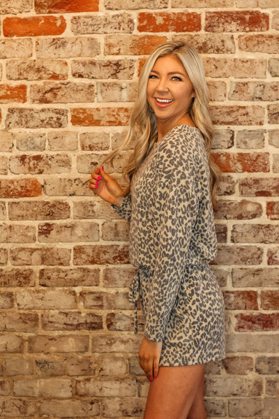 Leopard Long Sleeve Romper with Drawstring Waist
