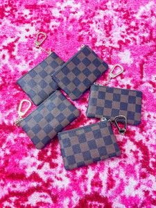 Designer Inspired Checkered Key Pouch- Brown