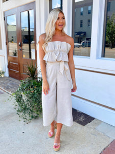 Sunset Stroll Ruffle Jumpsuit- Natural