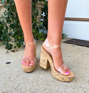 It's Clear To Me Cork Heel