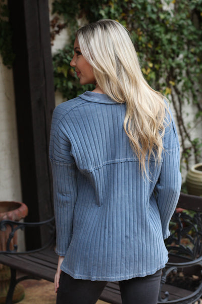 Blue Ribbed Top with Button Detail