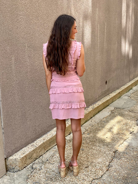 Good Girl Ruffle Dress- Baby Pink