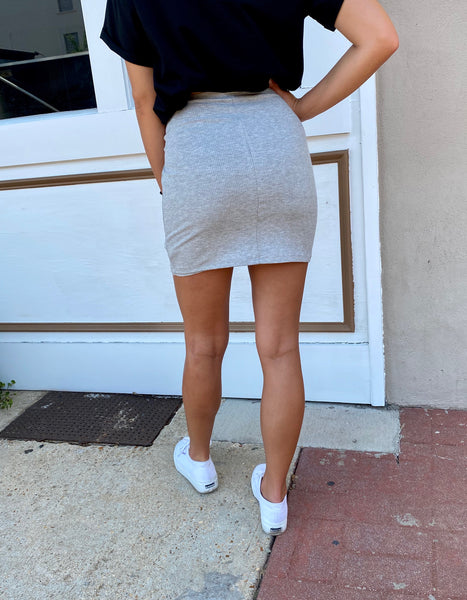 Knew You Were Trouble Ribbed Mini Skirt- Heather Grey