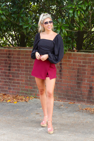 Girl Please Burgundy Skort