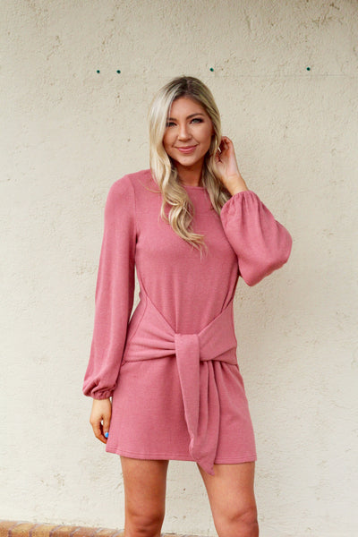 Rose Knit Sweater Dress with Front Knot