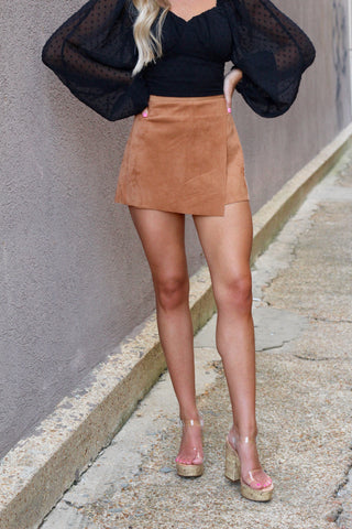It's Not Me It's You Camel Suede Skort