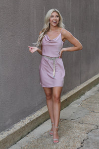 Back & Better Mauve Cowl Neck Mini Dress