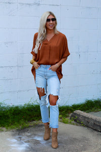 Take It Easy V-Neck Blouse- Camel