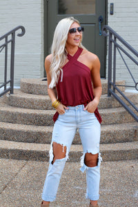Cross Your Heart Ribbed Knit Top-Maroon