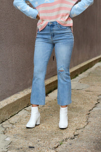 Demi Cropped Raw Hem Jeans