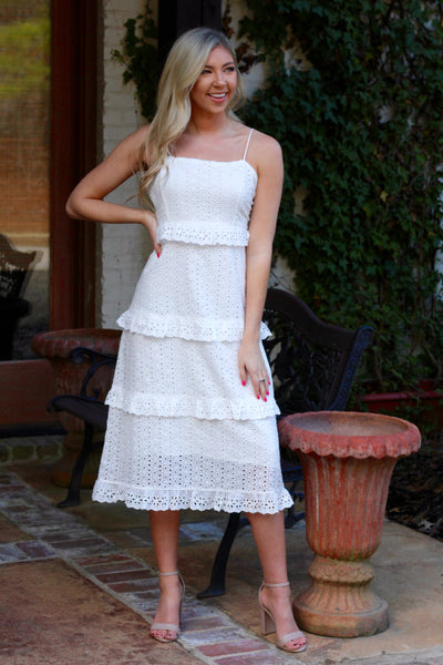 White Eyelet Tiered Midi Dress