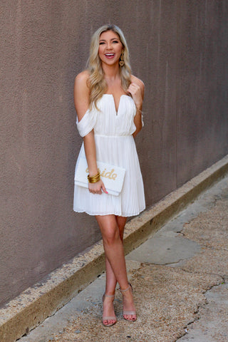RESTOCK: White Off the Shoulder Pleated Dress