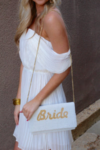 """Bride"" Beaded Clutch- Gold"