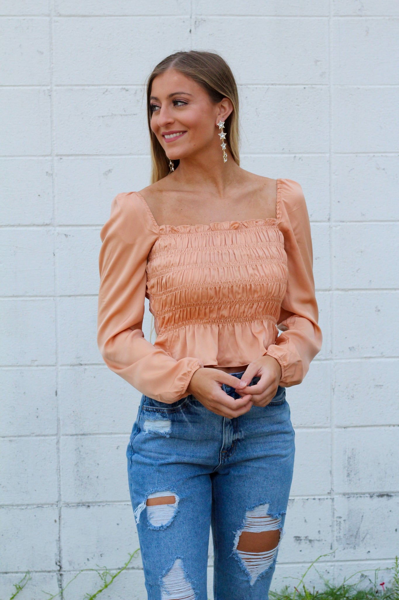 What's The Gossip Smocked Top- Apricot