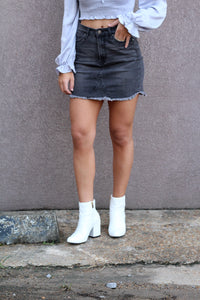 Wish You Well Denim Mini Skirt- Washed Black