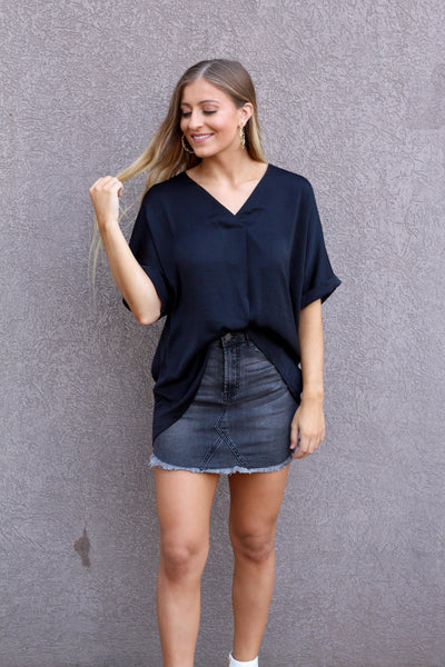 Take It Easy V-Neck Blouse- Black