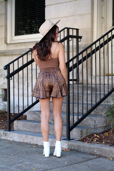 Out & About Camel & Navy Spotted Shorts