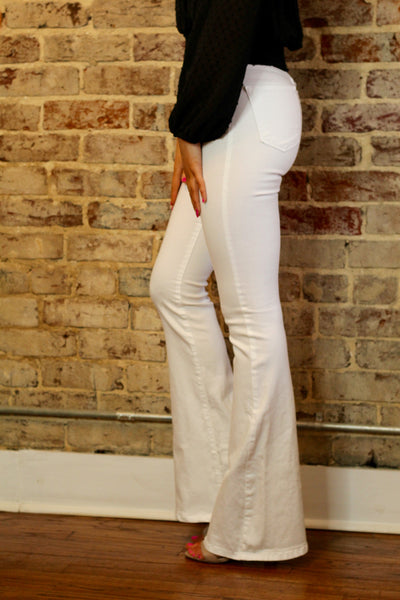 White High Waisted Flares
