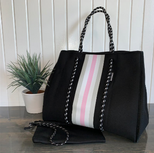 RESTOCK: Black Large Neoprene Tote with Powder Pink, White, & Grey Stripes