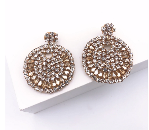 Beaded Crystal Round Earrings