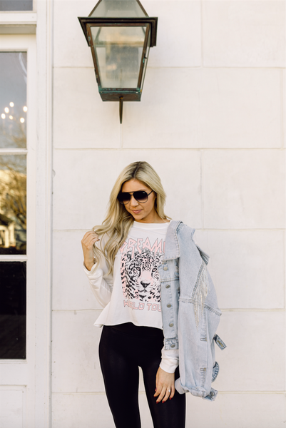 Dreamer Leopard Graphic Long Sleeve Tee