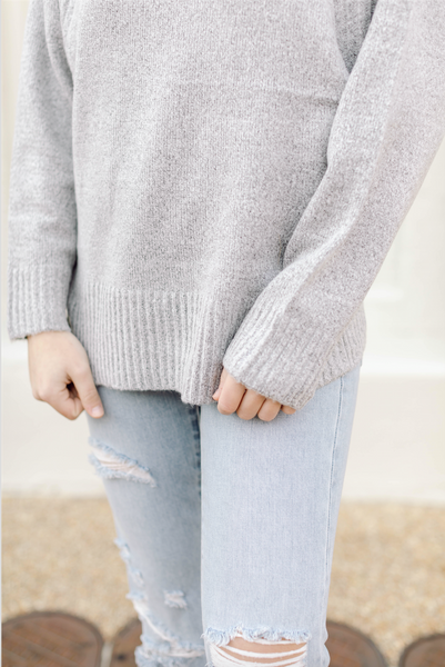 Loose Fit Turtleneck Sweater- Heather Gray