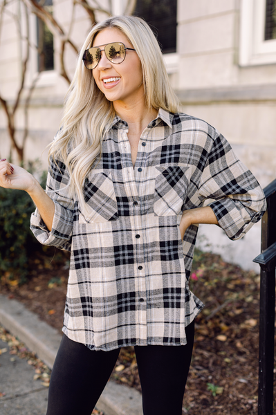 Talk Plaid to Me Stone/Black Flannel