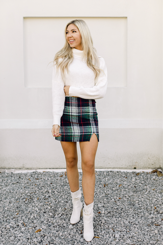 Lucky Charm Green Plaid Skirt