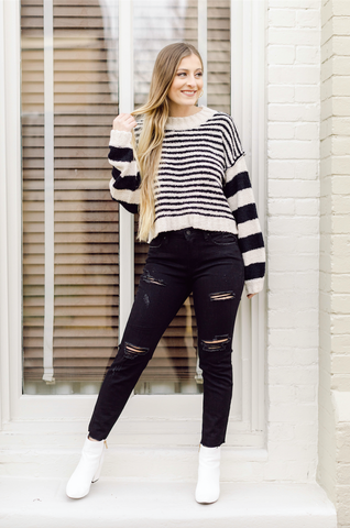 On My Way Mid Rise Distressed Relaxed Skinny- Black