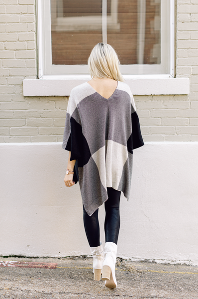 Never Say Never Poncho Sweater- Cream/Black