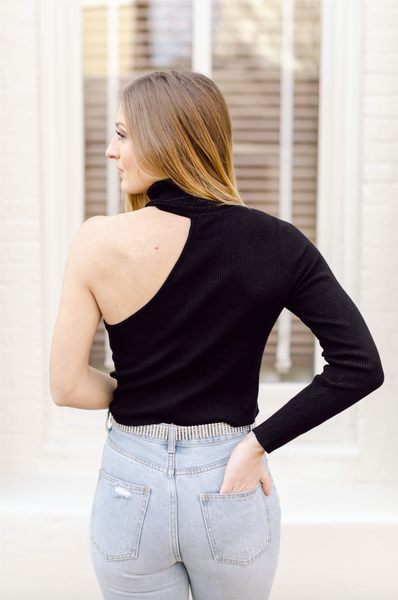 Hey Babe One Shoulder Mock Neck Sweater- Black