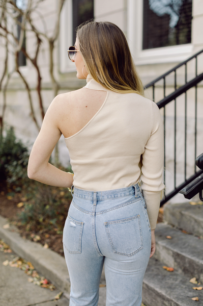 Hey Babe One Shoulder Mock Neck Sweater- Taupe