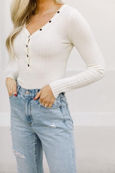 Wide Awake Ribbed Button Down Top- Ivory