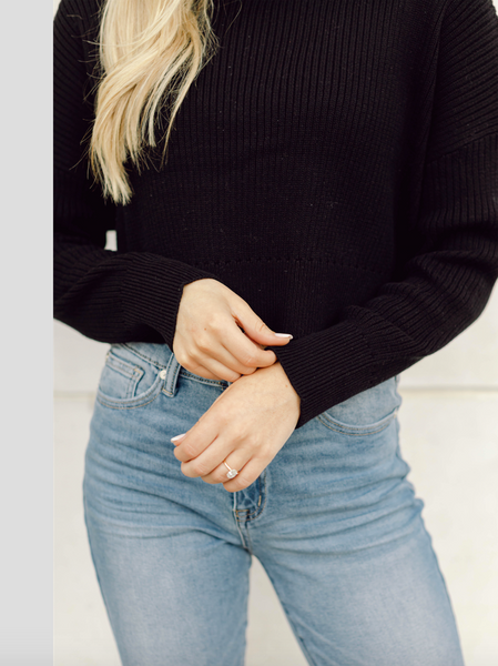 RESTOCK: Carson Cropped Sweater- Black