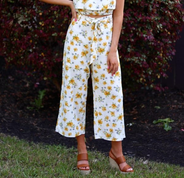 Yellow Floral Set Culotte Pant