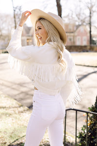 Fringe Benefits White Denim Jacket